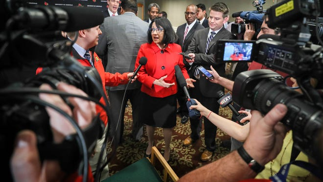 Neeli Bendapudi speaks to the media after a press conference announcing her as the new president of the University of Louisville.