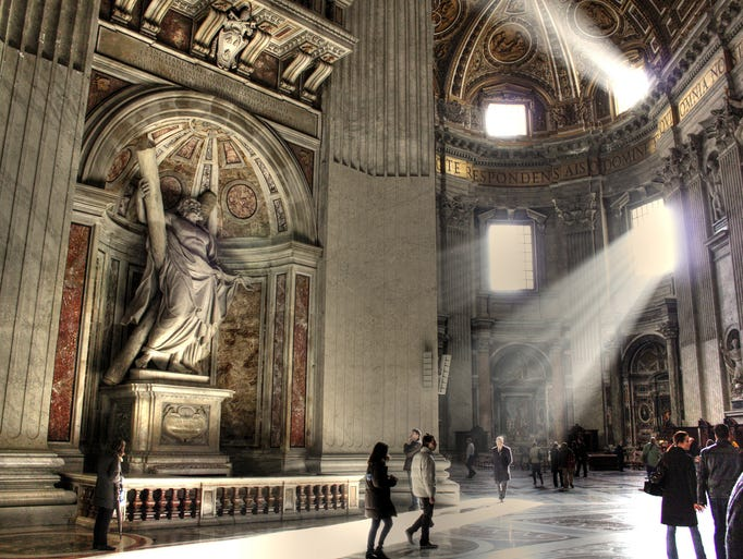 Built atop the tomb of Saint Peter, the basilica                                                          is the                                                          largest