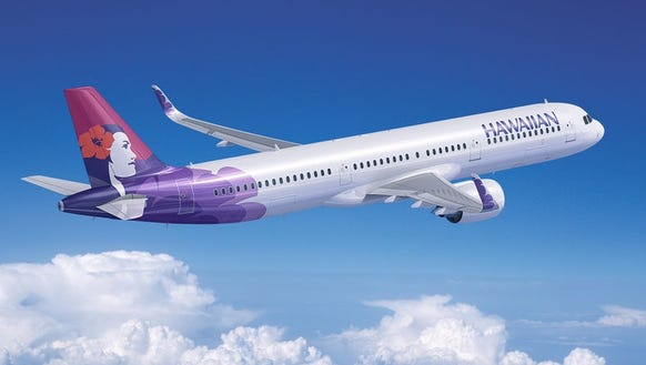 A rendering of an Airbus A321 in the colors of Hawaiian