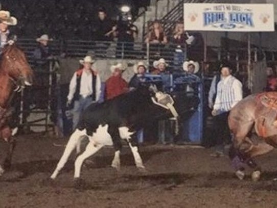 Laramie Johnson competes in a team roping event.