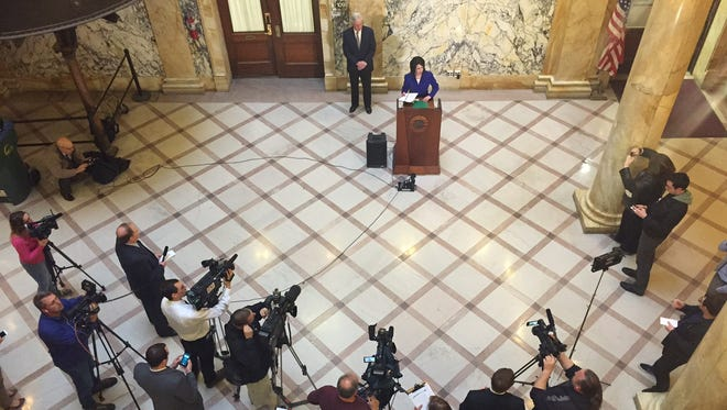 Monroe County Executive Cheryl Dinolfo takes questions from reporters on the I-Square controversy on Monday, March 28, 2016.