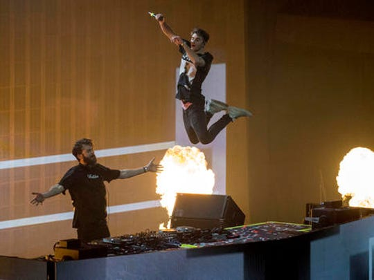 The Chainsmokers perform at the EA Sports Bowl at Club Nomadic on Thursday, Feb. 2, 2017 in Houston.