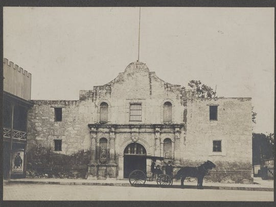 """Front View of the Alamo, Team-Drawn Wagon in Front,"""