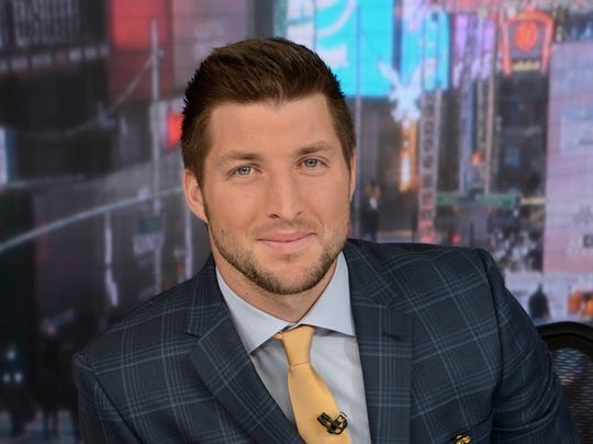 Tim Tebow is shown in ABC?s Times Square New York studios.