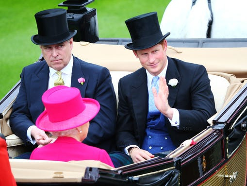 Queen Elizabeth II, Prince Harry and Prince Andrew