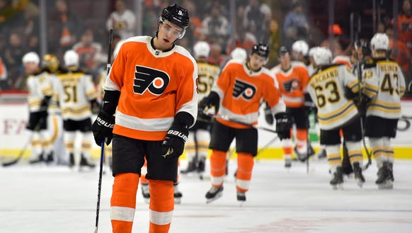 Ivan Provorov skates off after the Flyers' most recent
