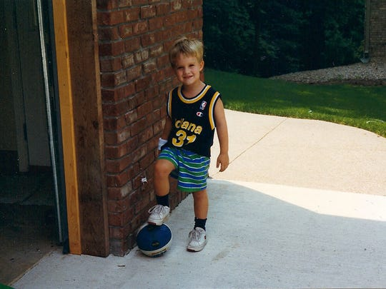 A 4-year old Patrick Rodgers donning a Reggie Miller Pacers jersey.