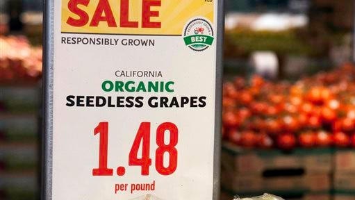 "This September 2014 photo provided by Whole Foods shows an example of the company's ""responsibly grown"" labeling system on California organic seedless grapes. Whole Foods on Wednesday, Oct. 15, 2014 plans to start rolling out the system that ranks fruits and vegetables as ""good,"" ''better"" or ""best"" based on the supplier's farming practices. (AP Photo/Whole Foods, Ha Lam)"