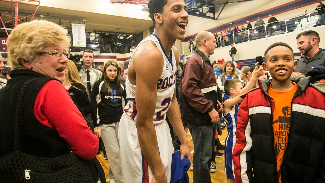 Spring Grove's Eli Brooks talks after his team's 77-67 win over Northeastern Friday night.