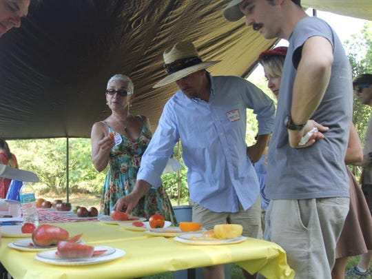 Judges taste some of the fruit entered into the Tomato Tasting Contest at the 2015 Feastival at Turkey Hill Farm on Baum Road. Judges awarded ribbons for Best Tasting Big, Best Tasting Small, Biggest and Ugliest.