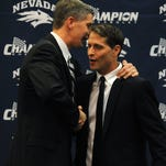 Wolf Pack athletic director Doug Knuth, left, and basketball coach Eric Musselman are part of the new face of Nevada athletics.