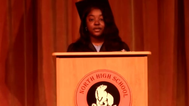 Class President Tracy Frimpong delivers the welcoming address of the North High graduation.