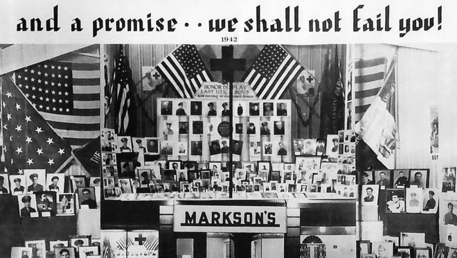 """During World War II, many store windows across the Upper Mohawk Valley were decorated to demonstrate that those on the home front appreciated what those fighting on the war fronts were doing. A display at Markson's Furniture Store, on the south side Bleecker Street in Utica between Mohawk Street and Third Avenue, paid tribute to """"East Utica Boys"""" in the service by displaying their photographs. It was 1942 and many photos of servicemen and women were added to the display before the war ended in 1945. This photo is owned by John Orilio. Photos of his father, Paul, and uncles, Frank and Russell, were in the display. Frank is 97 and lives in Florida. His nephew says that during the war, he played the drums for the legendary Glenn Miller army orchestra."""