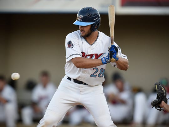 Luke Ringhofer takes an at-bat during Thursday's game against the Rockford Rivets at Joe Faber Field in St. Cloud.