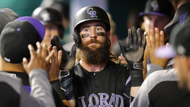 Charlie Blackmon leads the Rockies with a .328 batting average.