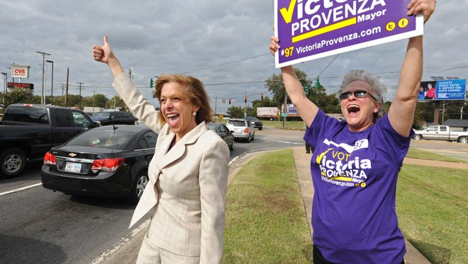 Victoria Provenza brings her campaign for mayor to the streets on election day.