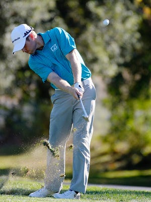 Tyler Duncan plays his shot on the third hole during the second round of the Safeway Open.