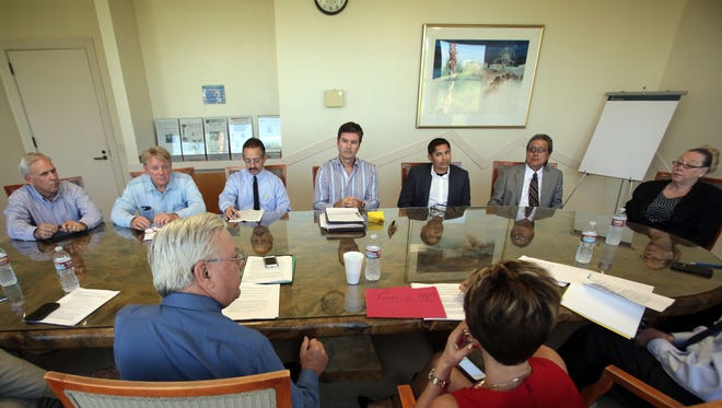 Seven candidates running for the Coachella Valley Water District board answer questions from the Desert Sun editorial board on Oct. 8 in Palm Springs.