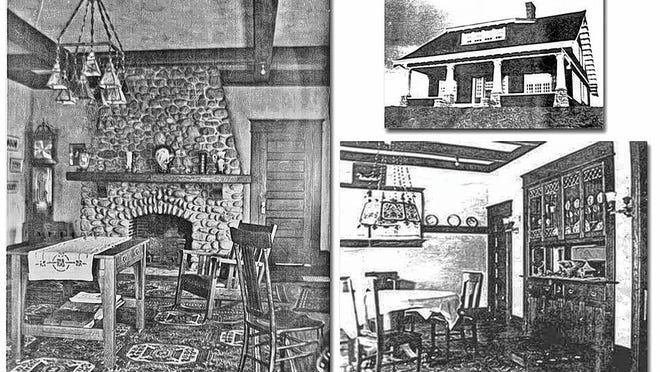 """A common practice in the late 1800s and early 1900s was to make personal photos into postcards, and they have become common as historical records of the time. In March 1910, Adrienne Frame Howell of 1100 Broadview Ave. (upper right) sent the picture postcard (left) of her new """"living room"""" to her brother Augustus Frame of Athens. Howell was obviously a devotee of the Arts and Crafts style of the period: She used the new term """"living room"""" in her message on the postcard, and she sparsely furnished the room with mission style, craftsman oak furniture, such as the library table and rocker in the foreground. Her dining room (lower right) included simple oak furniture, an authentic Tiffany hanging lamp and built-in cabinets typical of the period and style. An avid china painter, Howell maintained a studio on the second floor of her home for that creative purpose."""