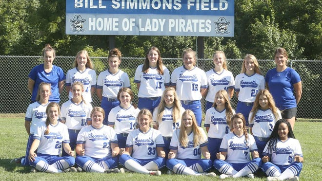 Boonville Lady Pirates softball team (front row, left to right) Brooke Eichelberger, Becky Evans, Kourtney Kendrick, Alexis Albin, Daylynn Baker and Alexis Trigg. (second row, left to right) Faith Mesik, Rachel Massa, Gracey Rose, Jordyn Fuemmeler, Alison Eichelberger and Carlie Bishop. (back row, left to right) Assistant coach Caitlin Pendergraft, Olivia Eichelberger, Lexie Maddex, Abby Pulliam, Emma West, Allison Drummond, Josie Widel and head coach Christie Zoeller. Not pictured is assistant coach Amanda Rhorer.