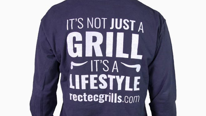 """The back of a t-shirt for REC TEC Grills, which recently changed its name to """"recteq,"""" promotes the company as a lifestyle brand."""