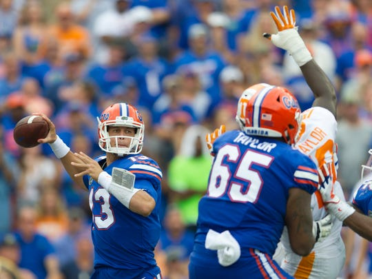 Florida quarterback Feleipe Franks (13) lines up a pass during the Tennessee Volunteers vs. Florida Gators game at Ben Hill Griffin Stadium in Gainesville, Florida on Saturday, September 16, 2017.