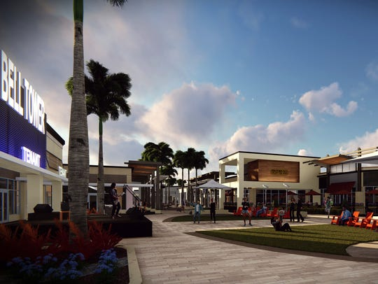 "This is a rendering of what the ""center court"" area of the Bell Tower Shops will look like after it has been redeveloped."