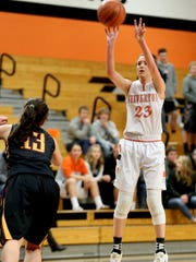 Silverton's Alia Parsons (23) shoots the ball in the Crescent Valley vs. Silverton girl's basketball game at Silverton High School on Wednesday, Jan. 13, 2015. Silverton won the game 45-27.