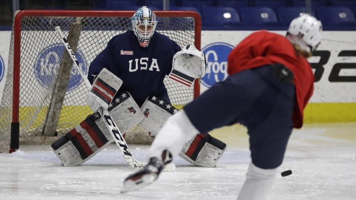 Team USA hockey goalie Alex Rigsby practices in Plymouth Township in December. The team did not take the ice for a training camp this week.