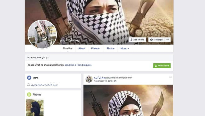 """A Facebook page for user Ramadan kareem, that when translated into English lists the user as working at """"Islamic State in Sham and Iraq."""" The page was still live Tuesday, May 7, 2019, when the screen grab was made. Facebook says it has robust systems in place to remove content from extremist groups, but a sealed whistleblower's complaint reviewed by the AP says banned content remains on the web and easy to find. (Facebook via AP)"""