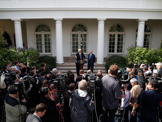 Trump answers questions with Senate Majority Leader