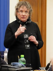 Mary Lynne Donohue speaks after the election of the committee of the whole Tuesday April 18, 2017 at city hall in Sheboygan, Wis.
