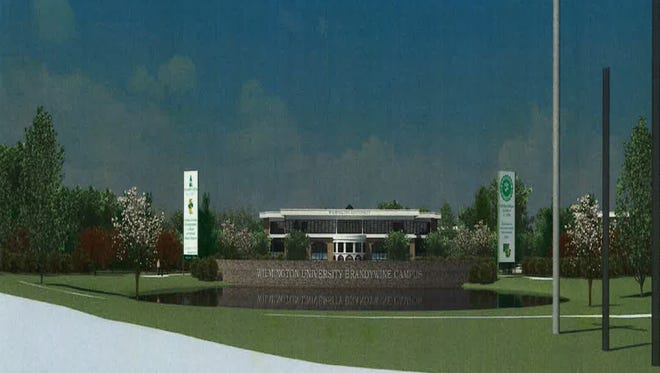 A rendering of the first phase of the proposed Wilmington University campus on U.S. 202 in Brandywine Hundred is shown.