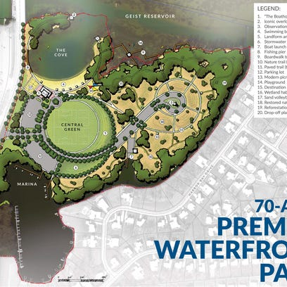 This rendering shows details of a park the city of