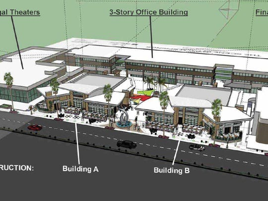 A rendering of The Scene, a proposed redevelopment of a Palm Springs plaza, from June 2017.