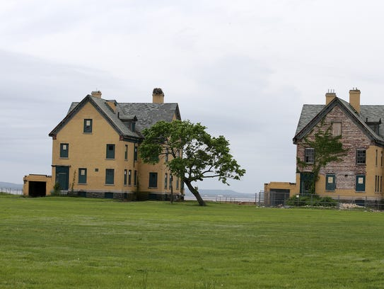 Pictured are the backs of two of the historic homes on Officers' Row at Fort Hancock.