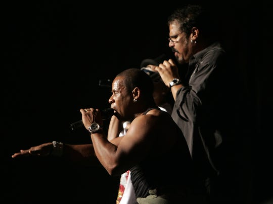 Master Gee (front) and Wonder Mike of The Sugarhill Gang perform in 2009.