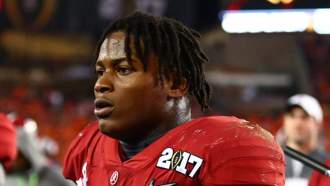 Alabama Crimson Tide linebacker Reuben Foster (10) in the 2017 College Football Playoff National Championship Game against the Clemson Tigers at Raymond James Stadium.