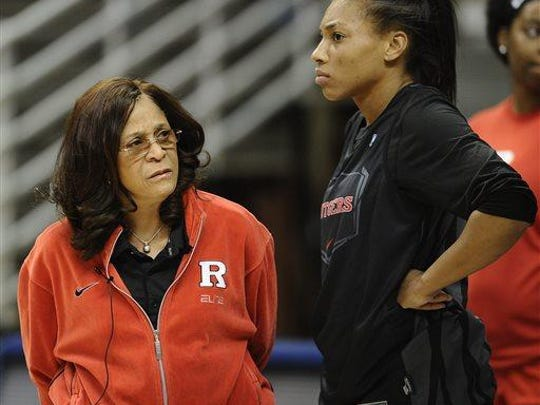 Former Rutgers women's basketball star Betnijah Laney (right) played for male head coaches growing up and then for C. Vivian Stringer (left) in college.