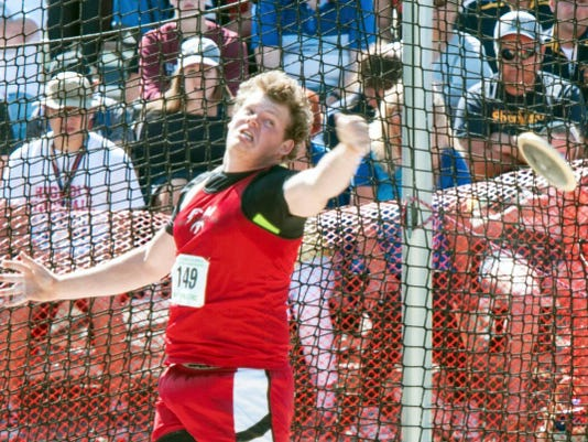 Fannett-Metal's Tom Peppernick launches the discus at the PIAA Championships on Saturday. Peppernick grabbed a silver medal in Class AA with a throw of 167-10