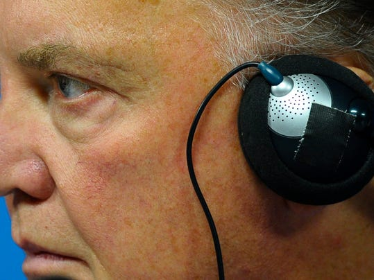 Netherlands coach Louis van Gaal looks on during a press conference one day before their World Cup semifinal soccer match against Argentina at the Itaquerao Stadium in Sao Paulo, Brazil, Tuesday, July 8, 2014. (AP Photo/Manu Fernandez)