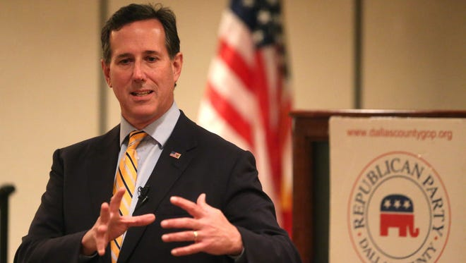 Sen. Rick Santorum spoke to a group of supporters on Wednesday, April 8, 2015, at the Marriott Hotel in West Des Moines, Iowa.