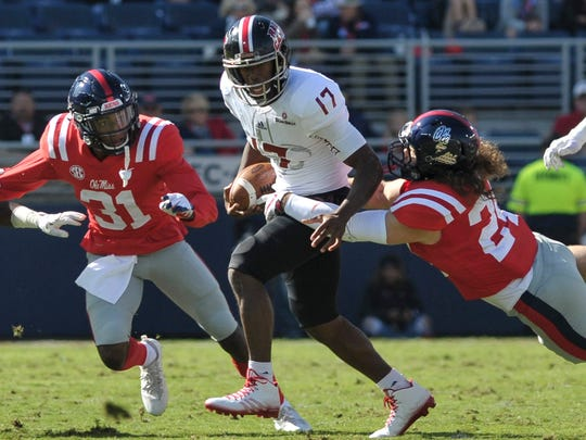 Ole Miss Rebels linebacker Tayler Polk (24) sacks Louisiana-Lafayette