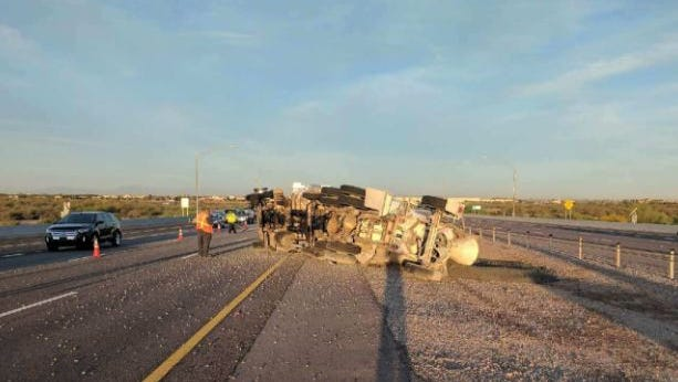 A cement truck rolled over, spilling some of its contents onto Loop 202 San Tan Freeway near Power Road on March 15, 2017.