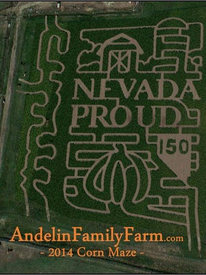 Andelin Family Farm Corn Maze in Sparks shows its Nevada sesquicentennial spirit.