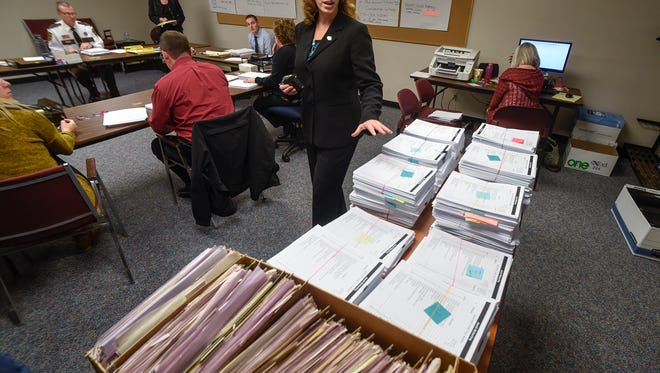 Stearns County Attorney Janelle Kendall talks about the process underway to review thousands of pages of documents in the Jacob Wetterling case file Thursday, Nov. 17, at the Stearns County Law Enforcement Center.