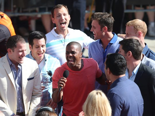 Straight No Chaser performs on the red carpet before the 98th Indianapolis 500 at the Indianapolis Motor Speedway, May 25, 2014.