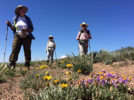 Julie Weikel, Alice Elshoff and Helen Harbin hike across the Sheldon National Wildlife Refuge in northern Nevada.