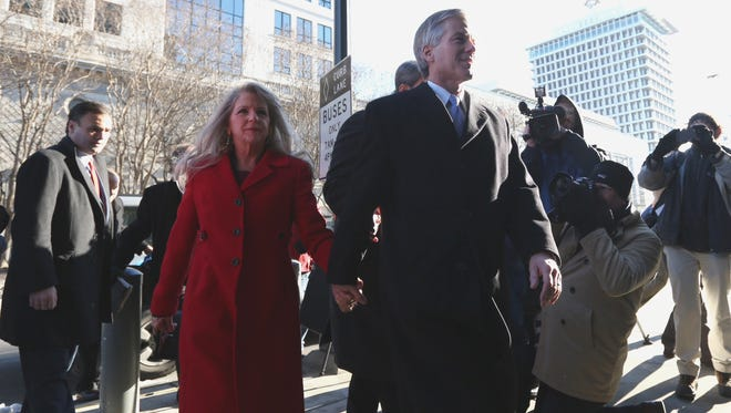 Former Virginia governor Bob McDonnell and his wife, Maureen, arrive at a court in Richmond on Friday.