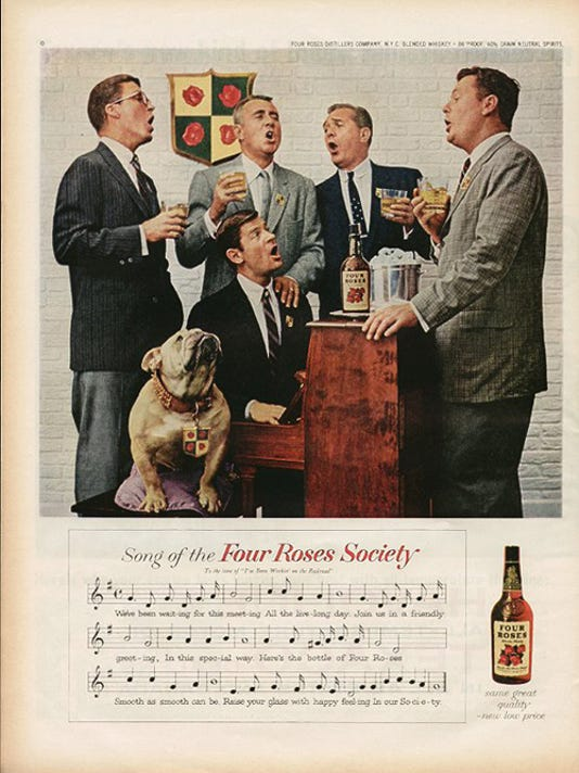 1958 Four Roses Whiskey ad with English bulldog singing along with a group of gentlemen.